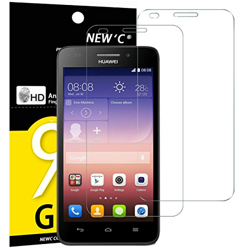 Huawei Ascend G620S Panzerglas, NEWC® [ 2 Pack ] Premium Displayschutz panzerfolie aus gehärtetem Schutzglas (0,33mm HD Ultra transparent) - ANTI SCRATCH - OHNE LUFTBLASEN - ULTRA RESISTANT - 9H Härte und leichte Bubble-Installation schutzfolie für Huawei Ascend G620S