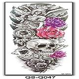 tzxdbh Autocollants de Tatouage Bras Complet Bras Entier Bras de Fleurs imperméable Autocollants de Tatouage pour Hommes et Femmes 2Pcs-16