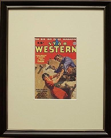 encadrée et montée d'impression de cowboy–Cadre de 20,3x 25,4cm, étoile Western