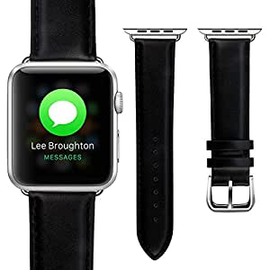 Apple Watch Band 38mm, Refo Wrist Band with Metal Clasp Classic Buckle Genuine Leather Strap for Apple Watch (Black with Adapter38mm)
