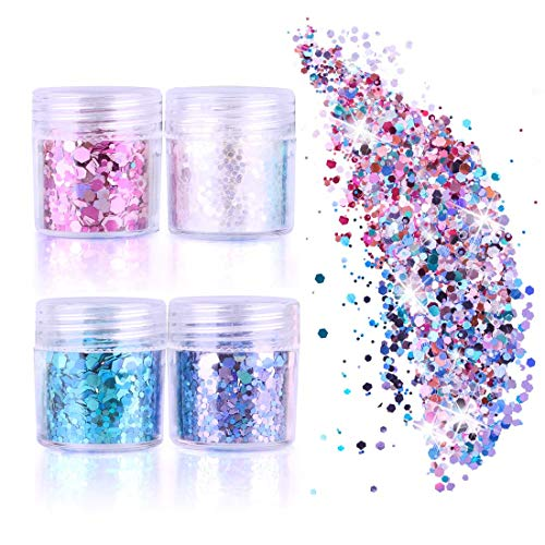 (GeMoor Glitzer Sequin Chunky Glitter für Gesicht Nägel Augen Lippen Haare Körper, Make-Up Glitzer Paillette für Musik Festival Masquerade Halloween Party Weihnachten Ball)