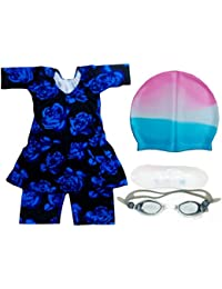 Others Girl's Synthetic Swimming Suit with Cap and Goggles(BM-SWIMCOSTUMCAP_Multicolour_7-8 Years)