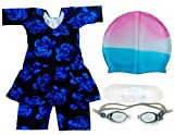 #4: Girl's Swimming Suit with Cap and Goggles - BM-SWIMCOSTUMCAP_7-8 Years