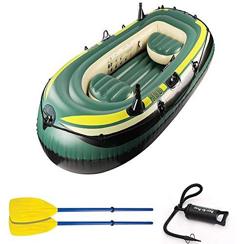 Qhwj giochi gonfiabili ad acqua, gommone gommone peschereccio per barche kayak gonfiabile in pvc gonfiabile per tre persone con pagaia con pompa a spinta