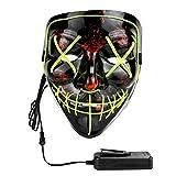 XDDIAS Maschera di Halloween, LED Grimace Horror Glowing Mask per Adulti Giocattoli con 4 modalità Flash per Feste Festival Cosplay Costume di Halloween (Verde)