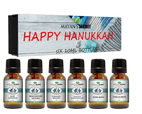 Premium Grade Fragrance Oil- Happy Hanukkah- Gift Set 6/10ml for Diffuser, Body oil, Skin & Hair, Massage, Baby Powder, Beachwood Vetiver, Bora Bora, Summer Breeze, Toasted Marshmallows, Vanilla bean -