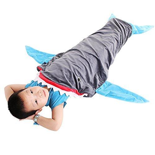 (PePeng Decke in Hai-Design, Warm und Weich, 3–12 Jahre alte KinderFlanell Tier geformt Mermaid Schwanz Blanket, 142 x 50 cm (Himmelblau))