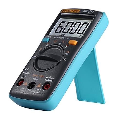 LESHP Multimètre Numérique Portable de Haute Qualité avec 6000 Counts Portable TRMS Thermomètre OHM Hz Temp Duty Thermomètre AC DC Avec Rétroéclairage