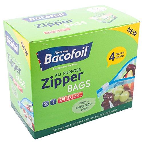 Bacofoil 2x 216unidades) sin BPA reutilizable impermeable de alta calidad resistente a la rotura multiusos 1L pequeñas bolsas de cremallera