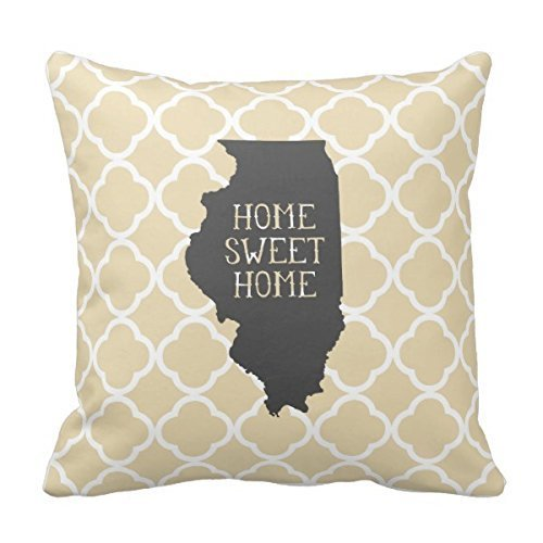 KLYDH Home Sweet Home Illinois Personalized Square Polyester Throw Pillow Case Decor Cushion Covers 18x18 Inches Illinois Home Jersey