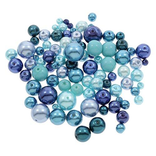 250g Glaswachsperlen Konvolut Wachsperlen Kugel Glasperlen Mix Blau Set 4 6 8 10 12 mm Schmuckperlen zum Fädeln D35