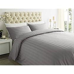 Sapphire Collection 100% Streifen TC400Ägyptische Baumwolle Steppdecke Bezug, Kissen alle Größen, Schiefergrau, Super King