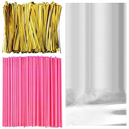 pop Sticks, 100 Klar Cellophanbeutel Tasche mit 200 Twist Krawatten für Candy Süßigkeit, Seife, Plätzchen, Kuchen Rosa ()