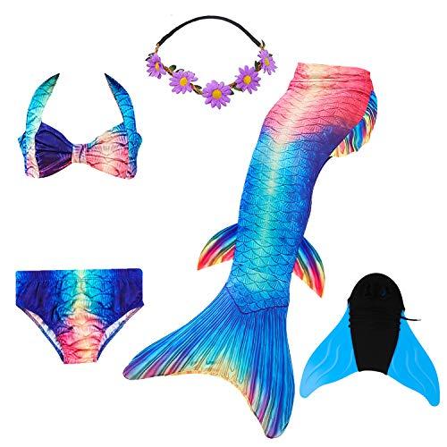COZY HUT 5PS Mädchen Cosplay Kostüm Badenbkleidung Meerjungfrauen Schwimmanzug Badeanzüge Meerjungfrauenschwanz für Schwimmen Kinder Farbewahl