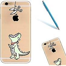 "iPhone 6 Funda, 4.7"" Apple iPhone 6/6s Carcasa con Diseño, CLTPY [Cristalino Transparente] Caja Protectora, Cartoon Cat Series Shockproof Case para el iPhone 6s + 1 Aguja Azul - Verde Dinosaurio"