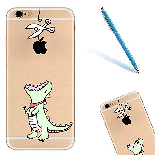 iPhone 6 Handyhülle, CLTPY iPhone 6s Durchsichtig Slim Fit TPU Schutzfall mit Luxus Schöne Muster für Apple iPhone 6/6s + 1 x Freier Stylus - Rosa Dinosaurier Grün Dinosaurier