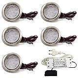 5er Set LED Einbauleuchte Möbelleuchte Einbaustrahler 3W HIGH LED SMD WARMWEISS
