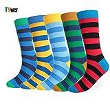 TYWZF Mens Socks 5 Pairs Luxury Stripe Cotton Rich Sock Taglia EUR 44-48