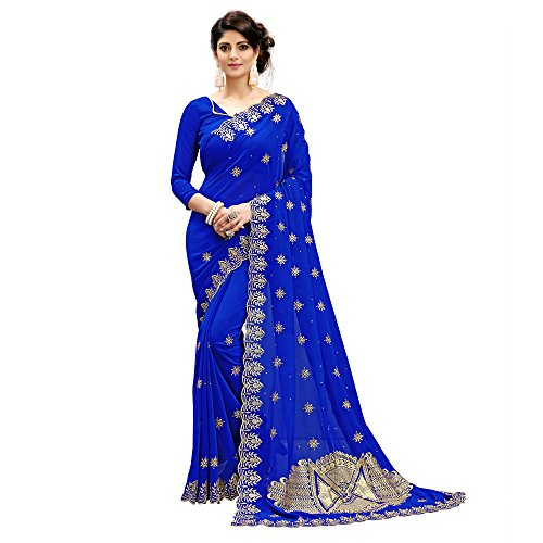 Siddeshwary Fab Women's blue color Faux Georgette Saree With Blouse Piece