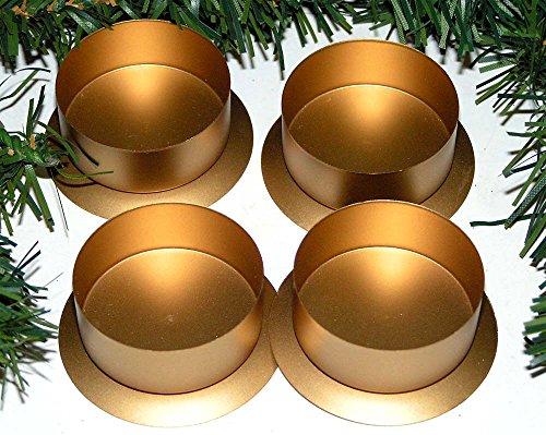 4´er Set Edel Advent Teelichthalter Kerzenteller Kerzenhalter GOLD 5x2 cm Weihnachten zum verarbeiten Weihnachtsdeko 3642