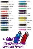 Creativgravur Aluminium - Kugelschreiber Cosmo Lasergravur Sortenrein o. Gemischt Einheitl. Gravur 26 Farben + Trinkflas