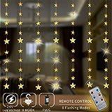 Areskey LED Lichterketten,80 Sterne 144 LEDs Anschließbar Sternenvorhang mit 8 Modi Fernbedienung, Weihnachtsbeleuchtung für Fenster Dekoration Innen Aussen Weihnachtsschmuck (2x1,5M)