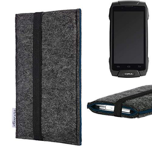 flat.design Handyhülle Lagoa für Cyrus CS 30 | Farbe: anthrazit/blau | Smartphone-Tasche aus Filz | Handy Schutzhülle| Handytasche Made in Germany