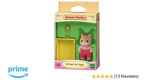 NEW SYLVANIAN FAMILIES STRIPED CAT BABY with CRIB /& BOTTLE 5186
