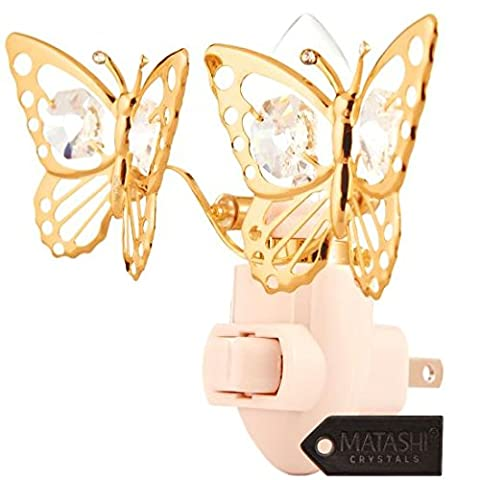 24K Gold Plated Butterfly Night Light Made with Genuine Matashi Crystals