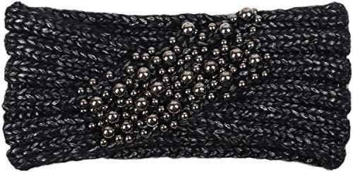 styleBREAKER Damen Strick Stirnband mit Perlen, Haarband, Headband 04026022, Farbe:Schwarz
