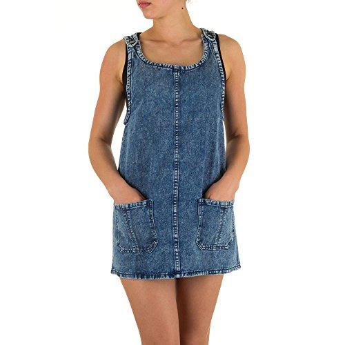 Damen Kleid Used Hängerchen Taschen Look Minikleid Jeanskleid Blau M (Low Bootleg Jeans Rise)