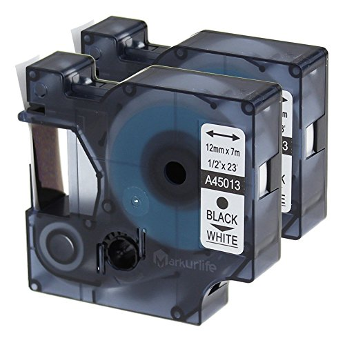 2x Dymo D1 45013 S0720530 Etikettenband, 12mm x 7m, Schwarz auf weiß, Kompatibel Dymo LabelManager 120P / 160 / 210D / 280 / 350 / 360D / 420P / 500TS, LabelPoint 150 / 200 / 250; LW 450 DUO; 3M PL200