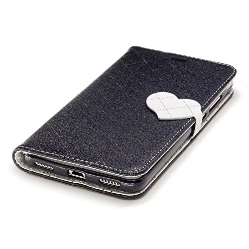 Huawei Honor 5A /Y6 II Wallet Case,Huawei Honor 5A /Y6 II Leather Case,Cozy Hut Love heart pattern Book Wallet PU Leather Flip Case Magnetic Closure [Drop Protection/Shock Absorption] Silicone Back Holder Cover with Card Slots & Stand & Wrist Strap For Huawei Honor 5A /Y6 II - Black love