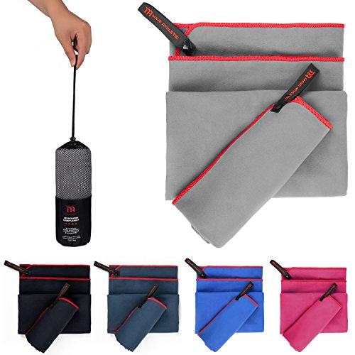 MAVE ATHLETIC Premium Mikrofaser Handtücher im 2er-Pack mit Tragetasche [140cm x 70cm & 70cm x 40cm] (Zementgrau)