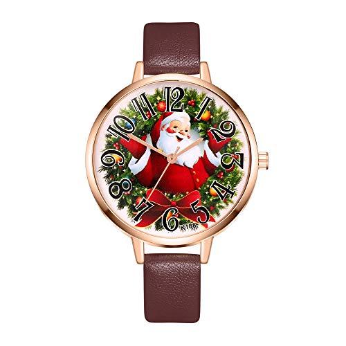 Tonsee® Weihnachtsdekoration, Damenuhr, Weihnachts-Uhr, Lederband, analog, Quarz, Vogue-Armbanduhr, Geschenk, A3, M