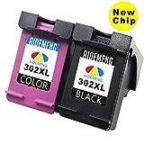 (New Chip) AideMeng Remanufactured pour HP 302 XL Cartouches d'encre (1 Noir, 1...