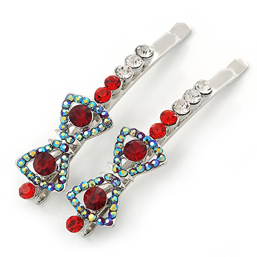 Pair Of Red/ AB Swarovski Crystal 'Bow' Hair Slides In Rhodium Plating - 60mm Length