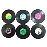 SODIAL(R) Brand New 6 PCS Vinyl Coaster Groovy Record Cup Drinks Holder Mat Tableware Placemat