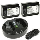 Batería de alimentación Wasabi (paquete de 2) y cargador USB dual para Sony NP-FZ100, BC-QZ1 y Sony a9, a7R III, a7 III