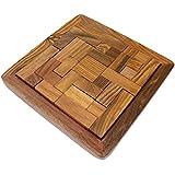 hecho a mano indio tangram rompecabezas de madera - juguetes de madera únicas para niños y adultos regalos -2 x 12,7 x 12,7 cm