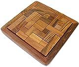 main indien en bois tangram puzzle - jouets en bois uniques pour enfants et adultes cadeaux -2 x 12,7 x 12,7 cm