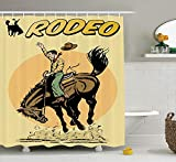 tgyew 1950s Decor Shower Curtain Set, Old Style Art of a Rodeo Cowboy Riding Horse American Wild West Artistic Work, Bathroom Accessories, 60W X 72L Inche Extralong, Yellow Brown Orange