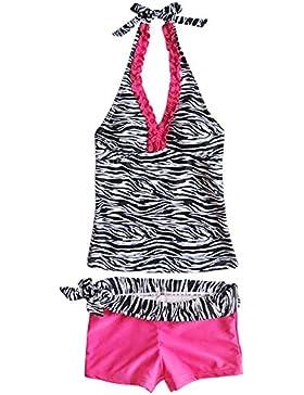 YiZYiF Kinder Mädchen Tankini mit Panty Short Neckholder Badeanzug Mambo Tie-Dye Bikini Set 128 140 152 164 176