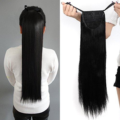 55cm coda di cavallo extension capelli clip in parrucchino wrap around tie up ponytail hair lisci, nero