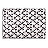 Goodsmania Designer Patchwork Kuhfell-Teppich - B120 x L180cm - weiß grau schwarz Karo Raute 3D genäht