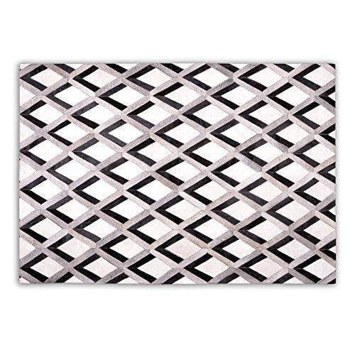 Fivekorn Patchwork Kuhfell Teppich B120 x L180cm weiß grau schwarz Karo Raute 3D genäht