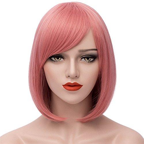 Milrüme Rosa Kurze Bob Haar Perücken Gerade mit Flach Pony Synthetische Bunte Cosplay Tägliche Party Perücke für Frauen Natürliche Wie Echthaar 12 Zoll 003C (Rosa Perücke Haar)