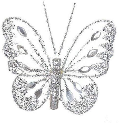 Deko-Schmetterlinge von Homestreet Butterflies. Aus Nylon mit Glitzerdiamanten und Strassverzierung, Clip auf der Rückseite , Textil, silber