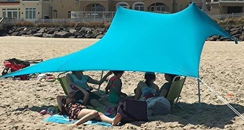 eZthings UV-Licht-Sonnenschutz Strandmuscheln - leichtes Zelt Baldachin mit Sandsack-Anker, hellblau, 7.5 x 7.5 ft - 6 ft Tall -