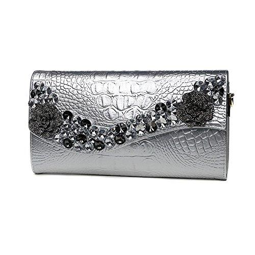 Handbeutel, Damehandbeutel, Diamantbohrgeräthandbeutel, Art und Weisetendenzleder großer Kapazitätsfaltblatt, Bankettabendbeutel ( Farbe : Schwarz ) Silber